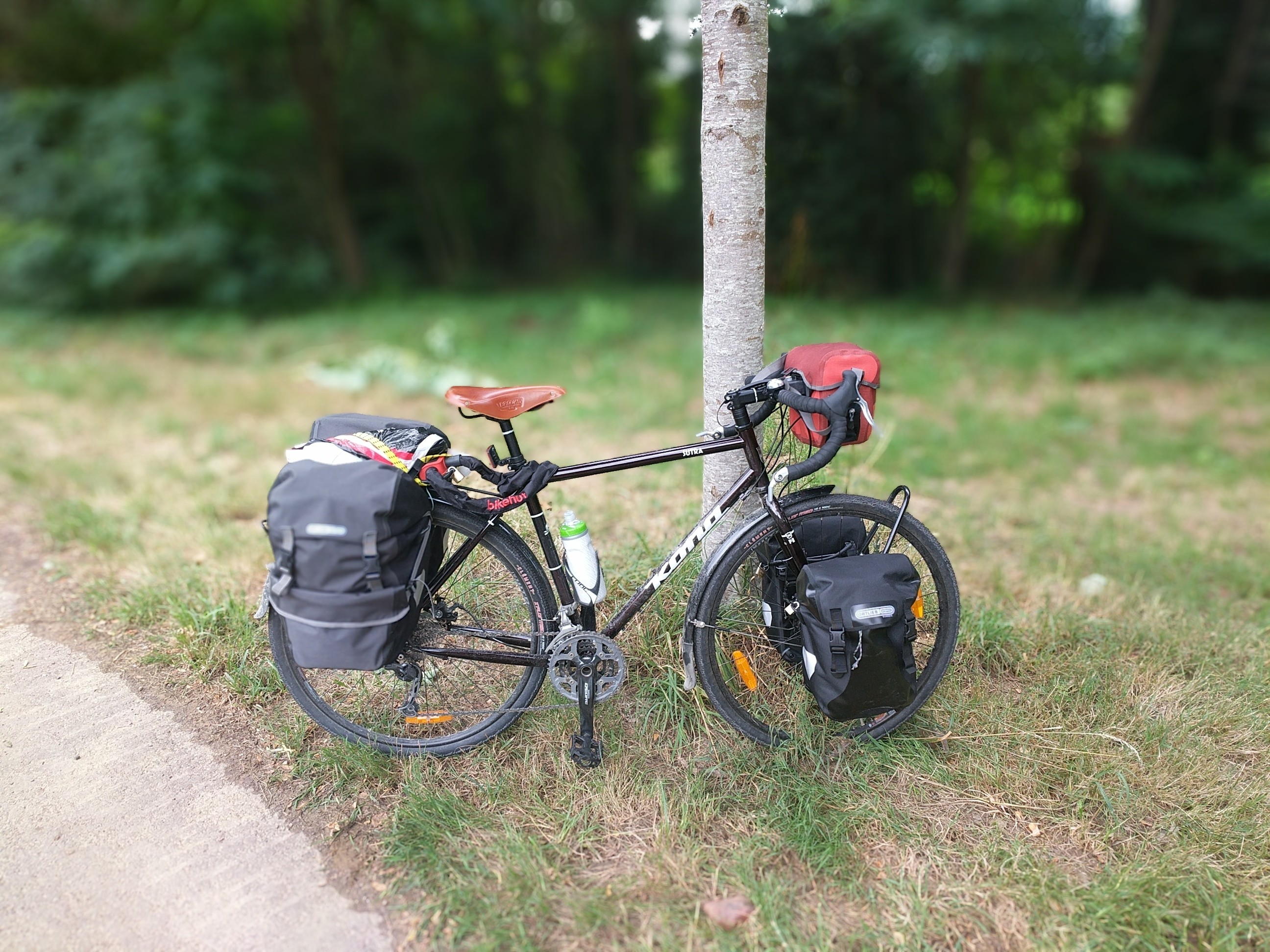 fully loaded kona sutra from bikepacking trip